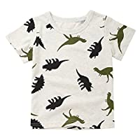 LANSKIRT-Baby Boys T-Shirt for 1-6 Years Old,✿Children Infant Cartoon Dinosaur Print Tops Kid Boys Pocket Summer Short Sleeve Pullover Casual Cotton Tank Tops Clothes Gray