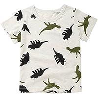 Ropa de Bebés❤️️Lonshell Camisetas de Estampado de Tiburón Niños Niñas Tops de Letra Camisetas Mangas Cortas de Verano de Moda de 2018 Nuevo