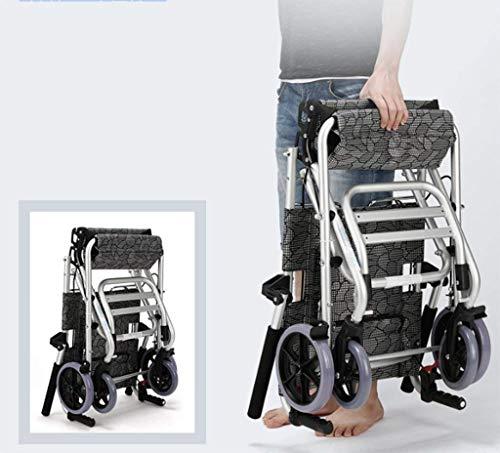 Lunzi Faltbarer Leichtgewicht-Rollstuhl mit Handbremse und Aluminiumrollstuhl. Tragbarer Offroad-Reisestuhl mit Tasche (Offroad-rollstuhl)