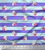 Soimoi Lila Seide Stoff Kätzchen & Wolle Streifen Stoff Drucke Meter 42 Zoll breit