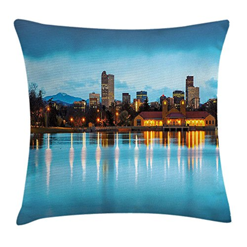WCMBY Urban Throw Pillow Cushion Cover, Downtown Denver Ferril Lake Colorado at The Morning City Park Capital, Decorative Square Accent Pillow Case, 18 X 18 Inches, Sky Blue Yellow Orange