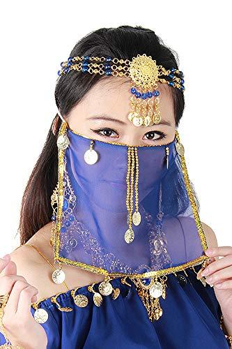 Kostüm Tänzerin Harems - Grouptap Seidenbauchtanz sexy Gesicht Schleier Maske Kostüm Frauen Mädchen arabisch türkische Outfits mit Gold Schmuck Krawatte (Blau)