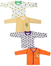 Babeezworld Baby Cotton Front Open Full Sleeves Vest Tshirt Jhabla Top Suitable For Girls & Boys (Kids Set Of 4)