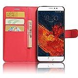 GARITANE Meizu Pro 6 Plus Hülle Case Brieftasche mit Kartenfächer Handyhülle Schutzhülle Lederhülle Standerfunktion Magnet für Meizu Pro 6 Plus (rot)