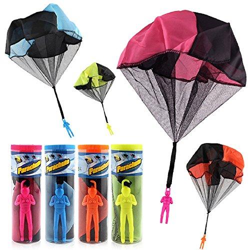 4 Stück Werfen Fallschirm Kinder, Centtechi Draußen Hand Verwicklung Frei Fallschirmspringer Spielzeug mit Soldat Outdoor Parachute Toy (4 Stück Mini Werfen)