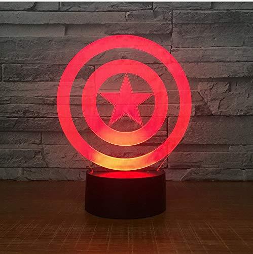 Lixiaoyuzz 3D Lámparas De Mesa Colorido Toque 3D Lámpara De Decoloración Nuevo Capitán América Escudo Regalo Lámpara De Acrílico 3D Visual Lámpara De La Noche Regalo
