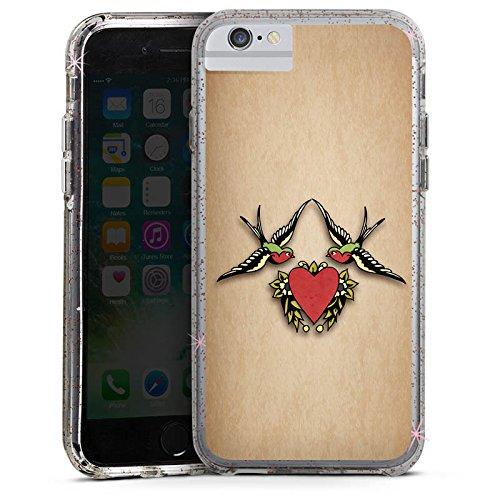 Apple iPhone 6s Plus Bumper Hülle Bumper Case Glitzer Hülle Schwalben Amour Liebe Bumper Case Glitzer rose gold