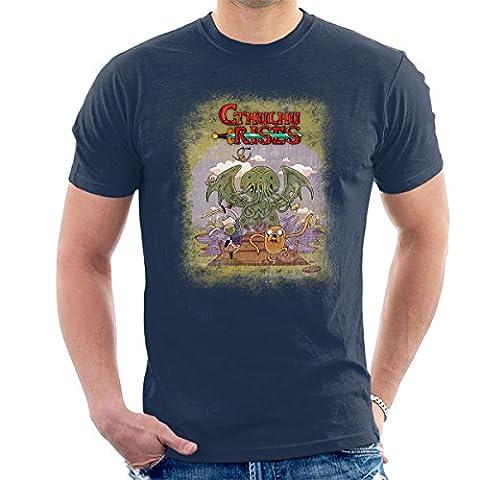 Adventure Time H P Lovecraft Cthulhu Rises Men's T-Shirt