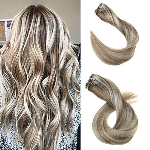 Ugeat 20 Zoll 100g Tressen Echthaar Weaving Extensions Ombre #10/613 Golden Brown Mit Bleach Blonde Brazilian Hair 1 Bundle