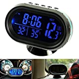 Auto Uhr Thermometer Voltmeter Multifunktion, KFZ Spannungs Anzeige, Temperatur Messgerät, Zigarettenanzünder Batterie