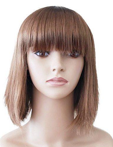 Capless brun moyen Hétéro synthétique de haute qualité japonais Kanekalon perruques