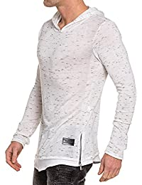 Celebry tees - Pull blanc chiné oversize homme à capuche