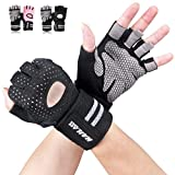 Gym Gloves, SLB Training Gloves with Full Wrist Support, Palm Protection and Extra Grip, Breathable Sport Gloves for Gym and Fitness, Great for Weight lifting, Pull Ups, Cross Fit Training and Cycling(Suit for Men & Women-B/L)