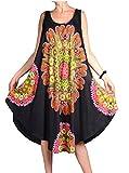 Italy Donna Ibiza Sommer Lagenlook Tunika Kleid Abstrakt Print 40 42 44 46 48 M L XL XXL Urlaub Strand Schwarz (42)