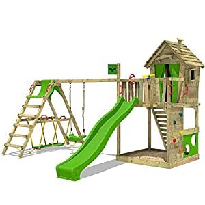 FATMOOSE Spielturm HappyHome Hot XXL Stelzenhaus Baumhaus Klettergerüst mit Schaukel, Surfanbau und Rutsche