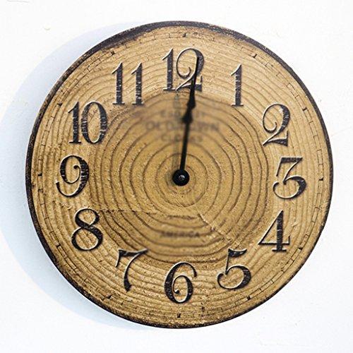 Horloges Murale Ronde en Bois Chambre familiale Vintage muette 12 Pouces