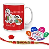 Indigifts Rakhi Gifts For Brother Super Hero Is Bro Quote Printed Gift Set Of Mug 330 Ml, Crystal Rakhi For Brother, Greeting Card & Tika - Rakshabandhan Gifts For Brother, Rakhi For Brother With Gifts, Raksha Bandhan Gifts, Brother Coffee Cup