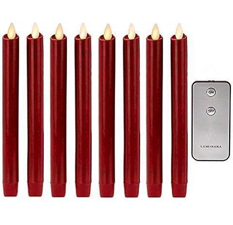 8 ZOLL Rot Echtes Wachs Flammenloses Bewegliches Wick LED Taper Kerzen Mit Fernbedienung und Timer Set von 8