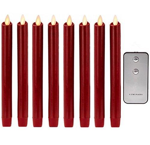 NONNO&ZGF 8 Zoll Rot Echtes Wachs Flammenloses Bewegliches Wick LED Taper Kerzen Mit Fernbedienung und Timer Set von 8