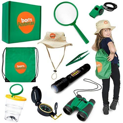 Born Toys Kids Adventure Kit und Outdoor Explorer Set, mit Hinterhof-Safari-Hut für Outdoor-Natur, Bug Catcher-Kit, Kinder-Camping, Wandern, Ankleiden und Rollenspiele für Kinder, ()