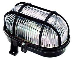 as - Schwabe Ovalleuchte - Gitterleuchte bis 60 W - Gehäuse für LED-Spot - Deckenleuchte/Wandleuchte für Außenbereich & Innenbereich - Fassung für Feuchtraum Lampe - Made in Germany - Schwarz I 56111