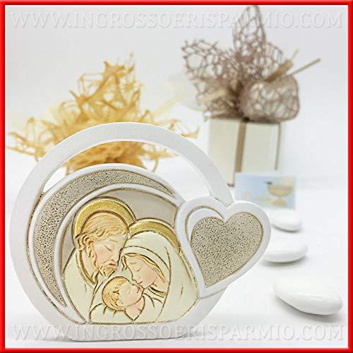 Ingrosso e risparmio icona da appoggio circolare con sacra famiglia e cuore in resina bomboniere battesimo, comunione, cresima (senza confezionamento)
