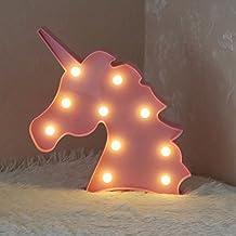 Lámpara de mesa con forma de unicornio 3D, de la marca Aizesi, estilo marquesina, decoración para el hogar, funciona con pilas