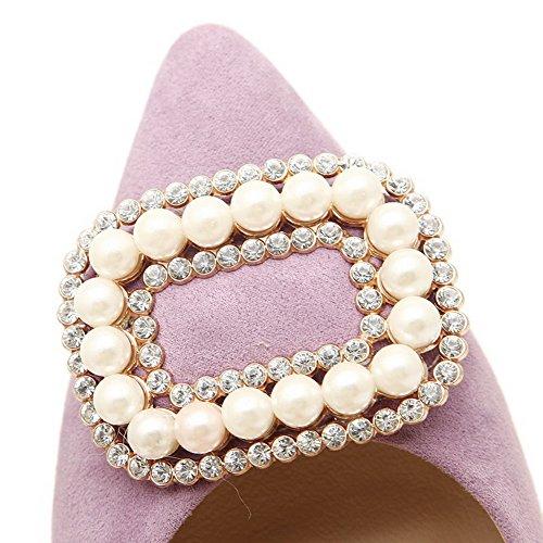AalarDom Femme Couleur Unie à Talon Correct Pointu Chaussures Légeres Violet