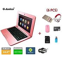 Netbook, ordenador portátil, ultrabook Android 4.2HDMI (Wifi, Ethernet, 1.5GHz 1Go + 8GO), incluye funda de ordenador portátil, ratón, adaptador, tarjeta SD, lector de tarjeta y auriculares (6 accesorios).  rosa Rose 10 inches