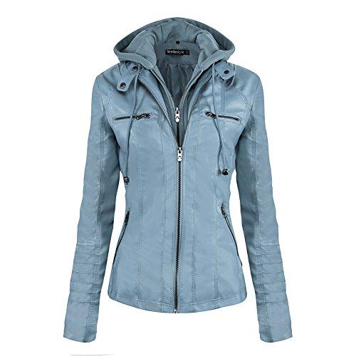 Newbestyle Damen Kapuzen PU-Leder Jacke (Normale EU-Größe) Blau Medium