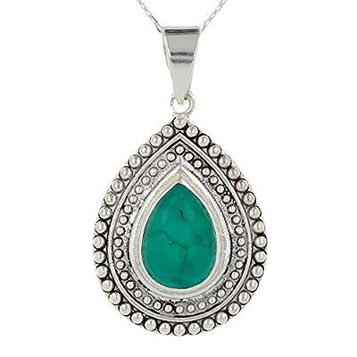 Idée cadeau anniversaire-Pendentif argent et Turquoise-Bijou femme-Création fait main-Forme poire