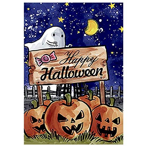 Gartenflagge Happy Halloween, 31,8 x 45,7 cm, dekorative Flagge, doppelseitig, Jack o Laterne Kürbis gruselige Geisterhaus-Flagge (O Muster Halloween Jack Happy Laterne)