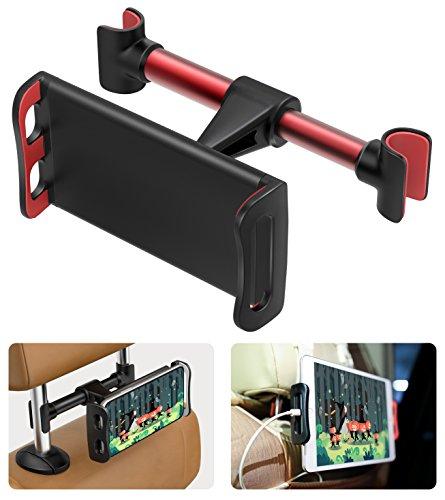 MoKo Kopfstützenhalterung für Tablet/Handy, 360 Grad drehbare verstellbare Tablet Halterung für iPad Pro 11/10.5/9.7 / Air/Mini, iPhone X / 8 Plus, Galaxy Note 8 / S8 + / S8 - Rot