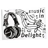 SODIAL(R) noir 50*70CM Musique rock casque sticker mural
