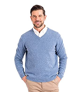 Wool Overs WoolOvers Mens Lambswool V Neck Knitted Sweater Blue Twist, S