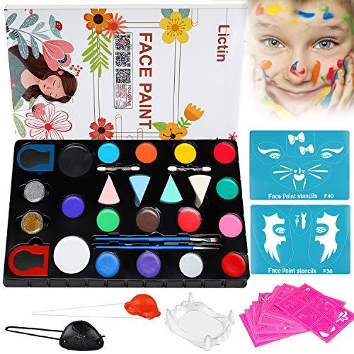 Lictin Kinderschminke Set Schminkpalette Face Paint 16 Farben Schminkset mit 12 Malerschablonen für Kinder Partys Halloween Weihnachten Fasching Gesichtsfarben