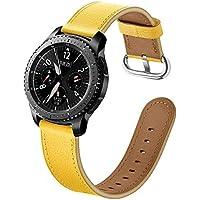 samLIKE Pulsera de Piel para Samsung Galaxy Watch 46mm–Premium Piel Brazalete Deportivo Ajustable para Pulsera para Hombre y Mujer, 3Colores, Color Amarillo