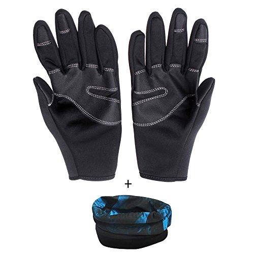 Eizur Antivento touch screen Sport Guanti + Sciarpa Magica, Unisex invernali Outdoor impermeabile Antiscivolo termica Guanti per Ciclismo Sci Escursionismo Caccia Arrampicata per donne uomini Taglia XL--Nero Dito