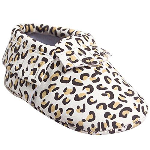 Happy Cherry Mode Chaussures Premier Pas Bébé Fille Garçon Marche Mixte en Cuir Artificiel Frange Printemps/Automne Chaussures Décontracté Princesse Souple 0-18mois Camouflage/Leopard/Vache Léopard