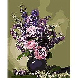 Msliuhuahua Románticas Flores De Margarita Violeta Cuadros De Pintura Al Óleo por Números Fotografías Digitales Coloreando A Mano Sción Única 40X50Cm Decoración del Hogar