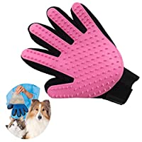 Pet Dog Cat Grooming Hair Removal Brush Five Finger Bath Massage Glove Beauty Comb (Pink)