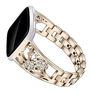 Versa Lite Smartwatch Bands, TechCode Stainless Steel Bling Bracelet Women Rhinestone Slim Wristbands Metal Strap Bangle Easy to Adjust Replacement for Fitbit Versa/Versa 2/Versa Lite (Gold)   4