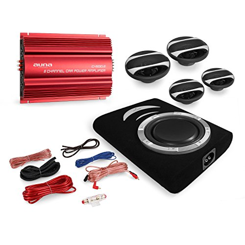 Rom Set (Cougar Car HiFi Set Rom 4.1 System 3000 Watt Endstufe + 4X Auna CS Speaker + Auna Suboofer)