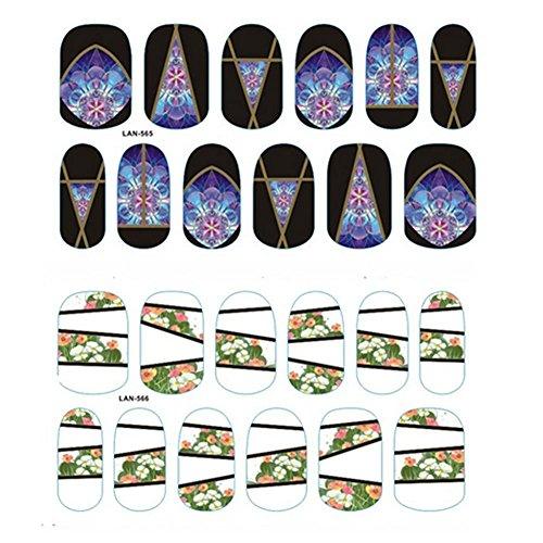 Nagel Frauen Kunst Kreative Bunte Nail Sticker Designs Mädchen Schönheit Nagel-Werkzeuge Nagel-Kunst-Zubehör 2 Stück