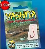 Behr Yashita gebundene Aalhaken - Haken extrem scharf -Vorfachlänge 60 cm, verschiedene Stärken...