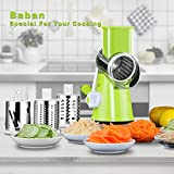 Mandoline Slicer Baban Vegetable Slicer Multi-function Food Slicer Manual Hand Speedy Safe Vegetables Chopper Cutter for Slices and Shreds Fruits and Potato Julienne Carrot Cheese Grater with 3 Round Stainless Steel Blades Green