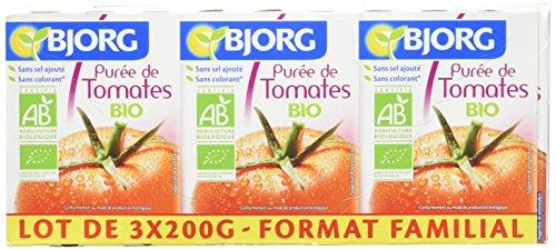 Bjorg Purée de Tomates Bio 3 x 200 g - Lot de 4