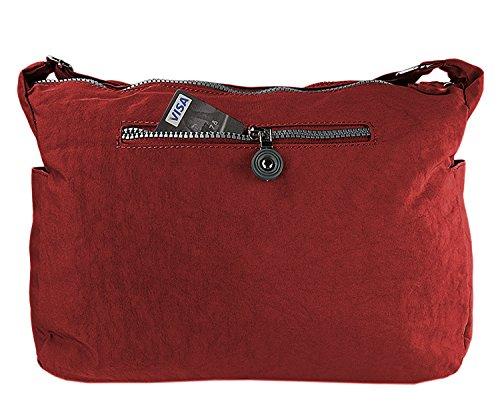 Damen Handtasche Crinkle Nylon Umhängetasche Schultertasche Tasche Shopper Bag 2243 Rot