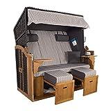 XXL 2,5-Sitzer Schwarz Strandkorb Hörnum Grau (als Bausatz, Grau Nadelstreifen) -