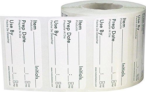 Desmontable Vida Alimentaria Rotación Preparación Usar Por Pegatinas, 25 x 51 mm 1 x 2 Pulgadas Ancho, 500 Etiquetas en un Rollo